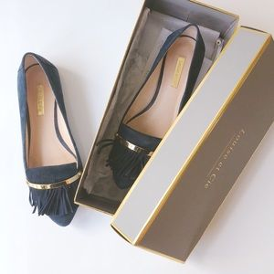 Louise et Cie Navy Suede Fringe Loafers